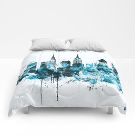 New York Monochrome Blue Skyline Comforters