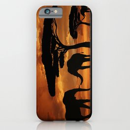 African elephants silhouettes in sunset iPhone Case