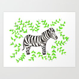 Watercolor Art   Zebra Art Print