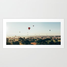 Hot-Air Balloons Flying Over Bagan Pagodas in Myanmar (Burma) Art Print