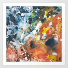 Color Commentary #13: Gone Snorkeling (Prussian Blue & Orange) [Lise Bjerregaard Nielsen] Art Print