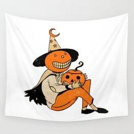 Pumpkin Witch Wall Tapestry