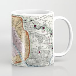 Vintage Map of Paris Fortifications (1841) Coffee Mug