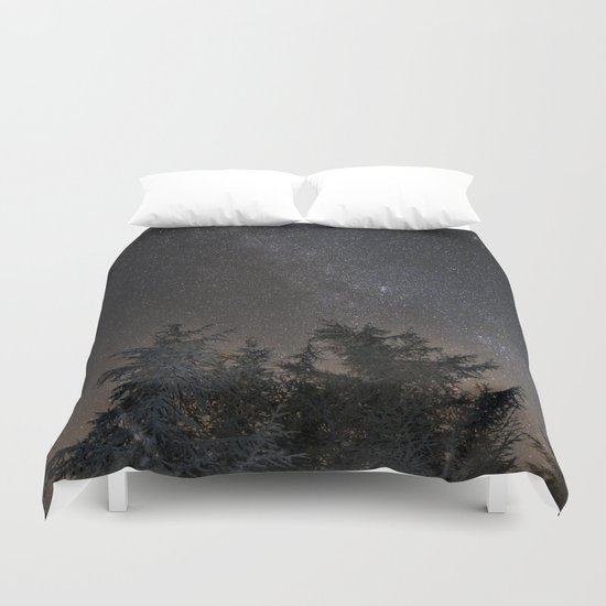 Andromeda Galaxy, Perseus and milkyway over the forest in the mountains Duvet Cover