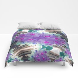 Lilac Blue Flower Curves - Abstract Floral Art by Fluid Nature Comforters