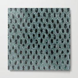 Watercolour Blackwork: 'Lozenge' Burnt Turquoise 1 (dark) Metal Print