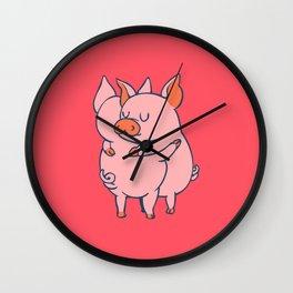 Pig Hugs Wall Clock