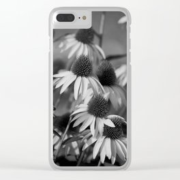 Cone Flower Echoes In Black & White Clear iPhone Case