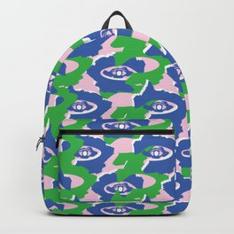 Blue and Green Graphic Abstract Dark Eyes Backpack