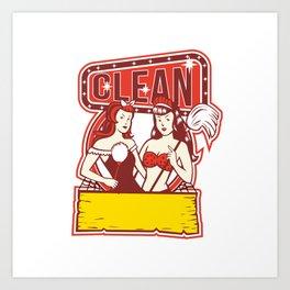 Twin Cleaners Clean 1950s Retro Art Print