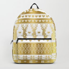 Nordic fair isle christmas pattern gold Backpack