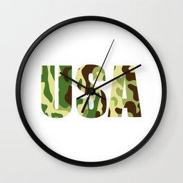 USA khaki camouflage sign Wall Clock