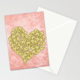 Gold butterflies heart and peach texture Stationery Cards