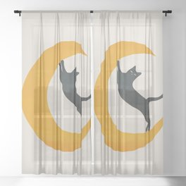 Moon and Cat Sheer Curtain