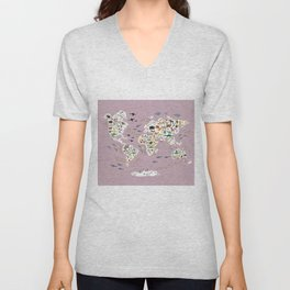 Cartoon animal world map for children, kids, Animals from all over the world, back to school lilac Unisex V-Neck