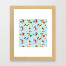 Cute and Whimsical Horse Pattern on Light Blue Framed Art Print