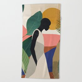 Tropical Girl Beach Towel