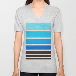 Cerulean Blue Minimalist Mid Century Modern Color Fields Ombre Watercolor Staggered Squares Unisex V-Neck