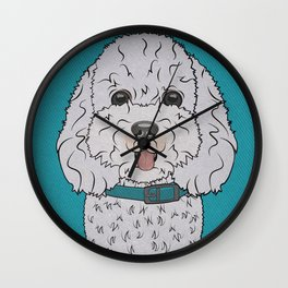 Icons of the Dog Park Bichon Frise  Design in Bold Colors for Pet Lovers Wall Clock