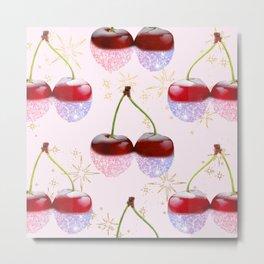 Sparkle Cherries on Pink Metal Print