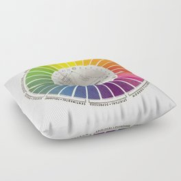 Vintage Color Wheel - Art Teaching Tool - Rainbow Mood Chart Pride Floor Pillow
