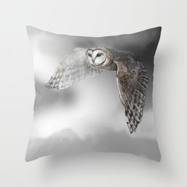 flying owl (tyto alba) Throw Pillow