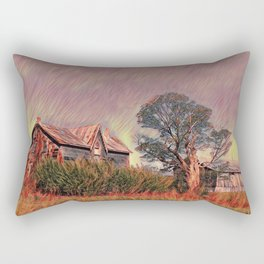 Grass fire at old farm Rectangular Pillow