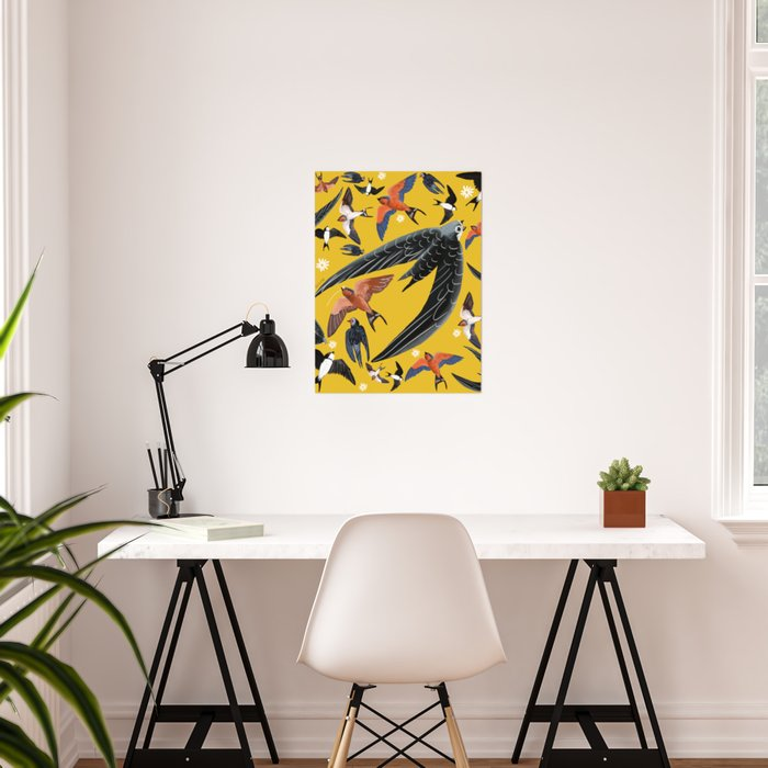 Swallows Martins and Swift pattern Yellow Poster