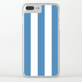 Steel blue - solid color - white vertical lines pattern Clear iPhone Case