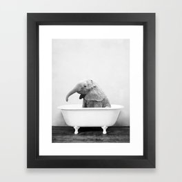 Baby Elephant in a Vintage Bathtub (bw) Framed Art Print