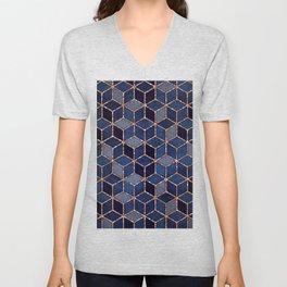 Shades Of Purple & Blue Cubes Pattern Unisex V-Neck