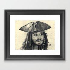 Captain Jack Sparrow ~ Johnny Depp Traditional Portrait Print Framed Art Print