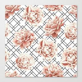 Rose Garden Vintage Rose Pink Cream White Mod Diamond Lattice Canvas Print