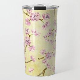 Sakura - Cherryblossoms on yellow Travel Mug