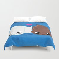 toilet Duvet Covers featuring The Best of Friends - Toilet Paper and Poop by Whitney Lynn Art