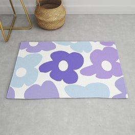 Large Purple Retro Flowers White Background #decor #society6 #buyart Rug