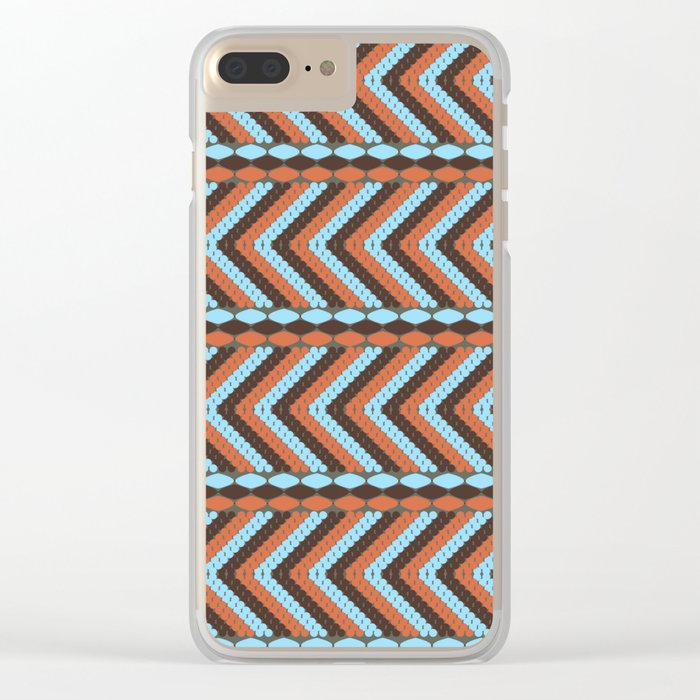 African abstract retro tribal   pattern.Turquoise and brown. Clear iPhone Case