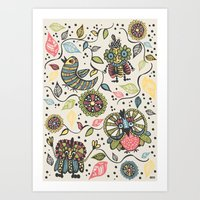 woodland Art Prints featuring Woodland by Sarah Doherty
