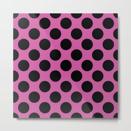 Pink with black dots Metal Print