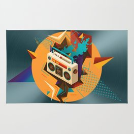 Bust Out The Jams Retro 80s Boombox Splash Rug