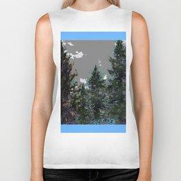 BABY BLUE WESTERN PINE TREES  LANDSCAPE Biker Tank