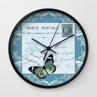 postcard Wall Clocks featuring Blue postcard by Marion de Lauzun