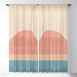 70's Retro Sunset Sheer Curtain