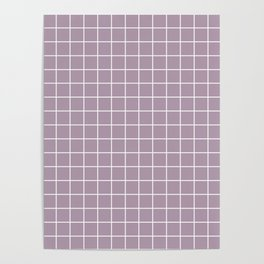 Lilac Luster - violet color -  White Lines Grid Pattern Poster