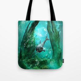 Swimming dolphin Tote Bag