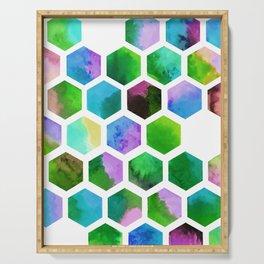 Green Hexagons Serving Tray