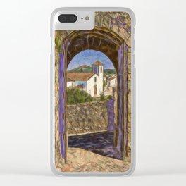 Marvao through castle door Clear iPhone Case