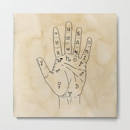 Palmistry Diagram - Palm Reading Chart - Palm Reading Guide Illustration Metal Print