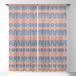 Blue and Coral. Geometric Pattern Sheer Curtain