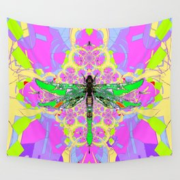 Emerald Green Dragonfly Pink Abstract Wall Tapestry